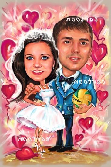 Свадебный шарж с оригинальным сюжетом в Хабаровске!
