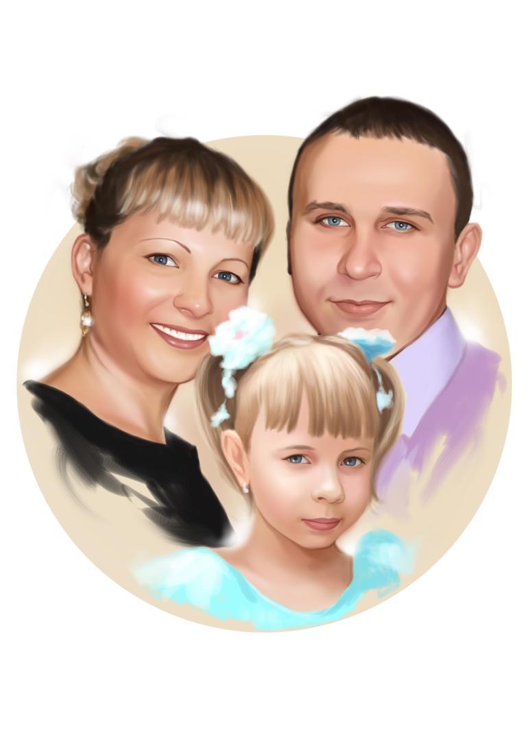 Семейный портрет по фото на холсте в Хабаровске — правильный подарок!
