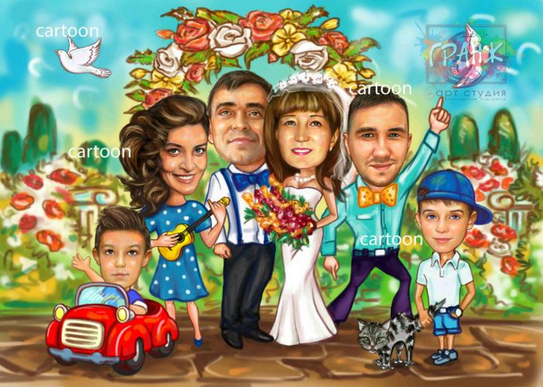 Шарж по фото на годовщину свадьбы на заказ в Хабаровске…