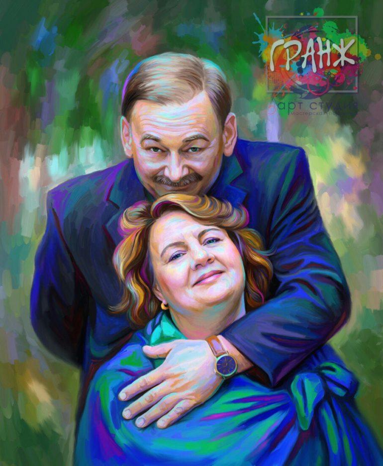 Портрет по фото на холсте — оригинальный подарок на семейный праздник Хабаровск